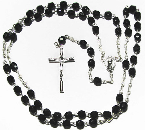 1506 - Fire Polished Jet Rosary - Large- SP