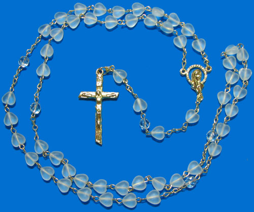 1373 - Glass Rosary  Style Heart-CM
