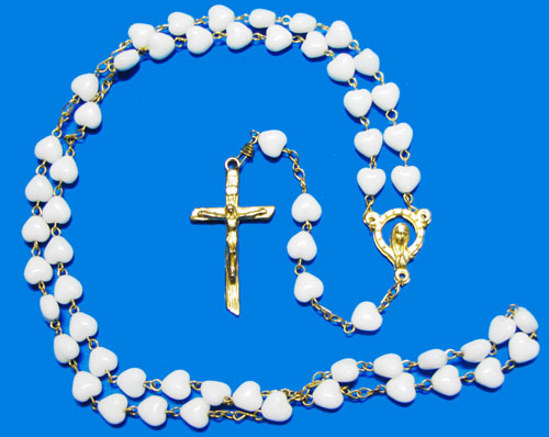 1604 - Glass Rosary - HeartB