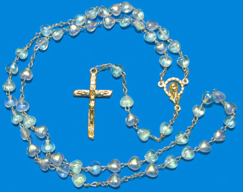 1015 - Glass Rosary Style Heart-CAB