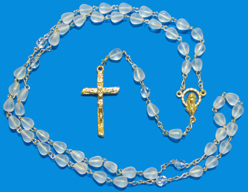 1585 - Glass Rosary - PearCM