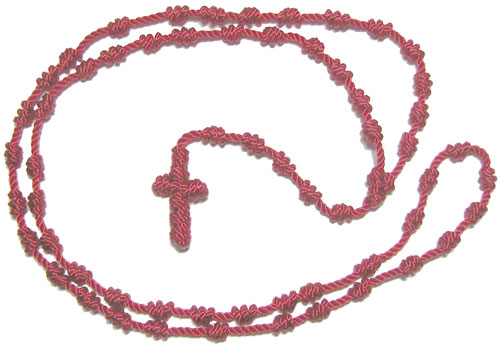 1377 - Rope Rosary -  Red